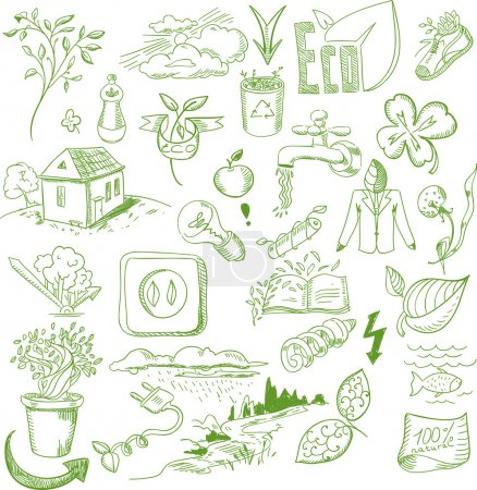 Ekologia ekologiczne znaki ekologiczne i bio elementy w ręka styl natura planeta ochrony opieki recyklingu Zapisz koncepcja