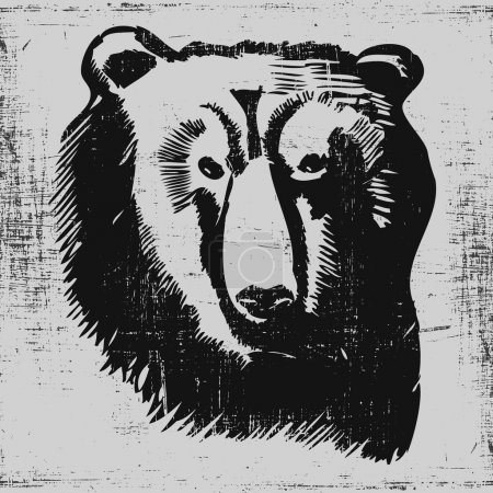 Illustration for Bear head hand drawn sketch grunge texture engraving style - Royalty Free Image