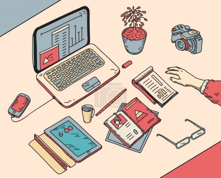 Illustration for Top view sketch hand drawn office or fome workplace freelancer with business objects and items lying on a desk laptop, digital tablet, mobile phone, documents - Royalty Free Image
