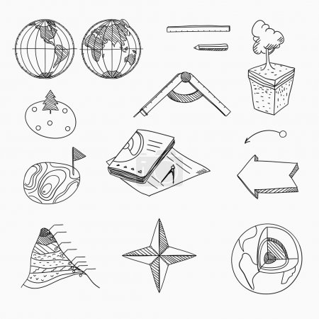 Geography lesson School objects and educational equipment Cartography topography Education linear hand drawn icons.