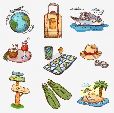 Illustration for Hand drawn travel icons traveling on airplane, planning a summer vacation, tourism and journey - Royalty Free Image