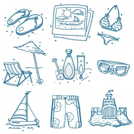 Illustration for Hand drawn doodle sketch travel icons summer vacation on beach - Royalty Free Image