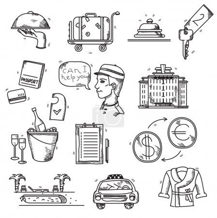 Illustration for Hotel Services icons doodle hand drawn style concept vacation summer travel - Royalty Free Image