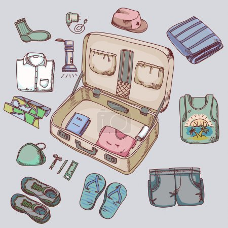 Illustration for Suitcase with things clothing for travelling summer vacation - Royalty Free Image