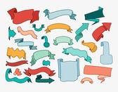 Set of cartoon hand drawn ribbons and labels