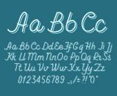 Hand drawin alphabet handwritting abc vector font Italic type letters numbers and punctuation marks
