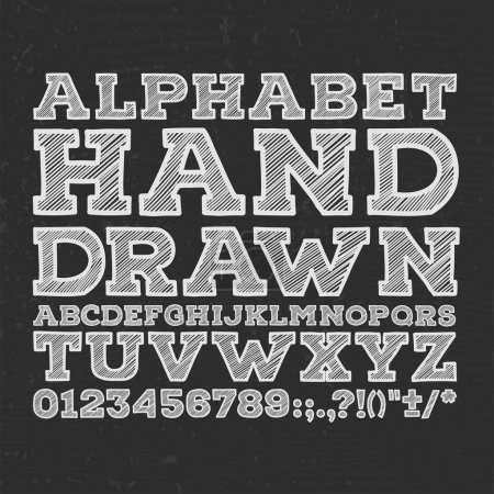 chalk sketched striped alphabet abc vector font. Type letters, numbers, characters and punctuation marks