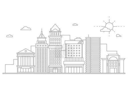Big city business center skyscrapers