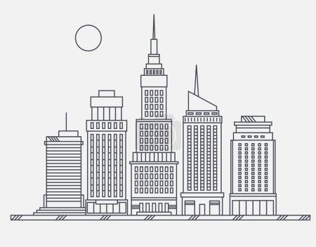 Illustration pour Centre d'affaires de la grande ville gratte-ciel rue Broadway mégapole bâtiments concept architecture immobilière, bâtiment commercial et bureaux dessin en conception linéaire appartement - image libre de droit