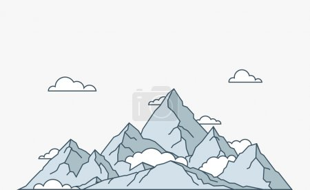 Illustration for Nature and travel flat linear style mountain landscape - Royalty Free Image
