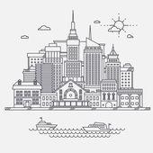 """Постер, картина, фотообои """"Бизнес центр большой город улица небоскребы мегаполиса зданий концепция недвижимости архитектуры, коммерческие здания и рисование в линейной плоский дизайн офисов"""""""