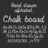 Hand drawin alphabet handwritting abc font on blackboard. Italic light thin line type letters, numbers and punctuation marks.