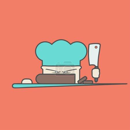 Illustration pour Icône vectorielle plate du chef en colère mignon avec couteau et chapeau. Logotype isolé sur fond plat. Les idées clés sont les affaires, la caféine, la cuisine, la nourriture, le restaurant, manger. Concept d'identité d'entreprise et - image libre de droit