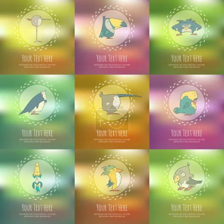 Illustration for Set of hand drawn vector retro birds on blurred background. Vector cartoon. Collection concepts of the characters. Greeting cards or invitations - Royalty Free Image