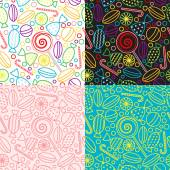Vector set of seamless patterns with candies