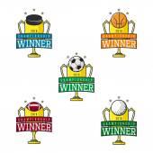 Set of vector labels of sport winner