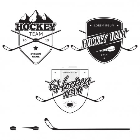 Set of ice hockey teams logos, badges and design elements