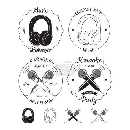 Set of music and karaoke logos, labels, badges and design elements.