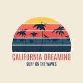 California surf illustration typography
