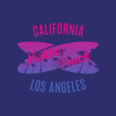California Malibu Beach surf illustration typography
