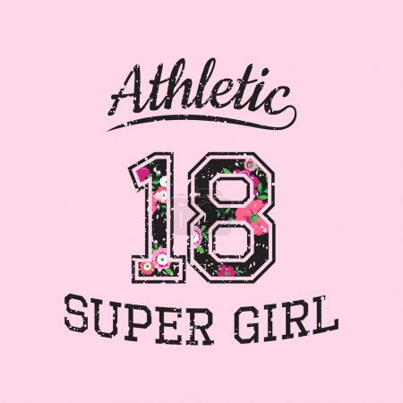 Vector print athletic super girl for typography