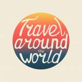Vector print of travel around the world for typography