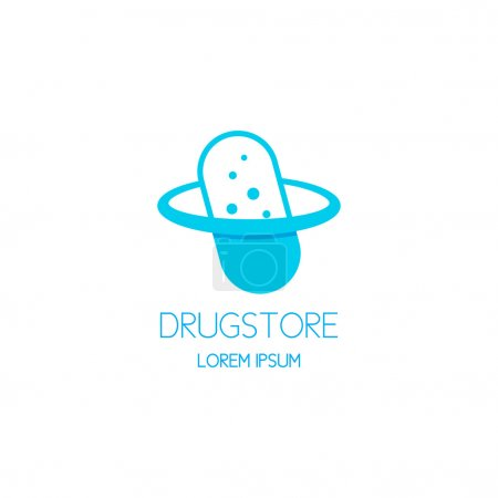 Concept logo of drugstore in the form of the pill