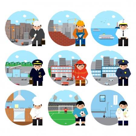 Photo pour Icônes professions personnages dans le style de design plat tout le monde sur son propre fond - image libre de droit