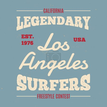Vintage Hand drawn apparel fashion print Legendary surfers for t-shirt.