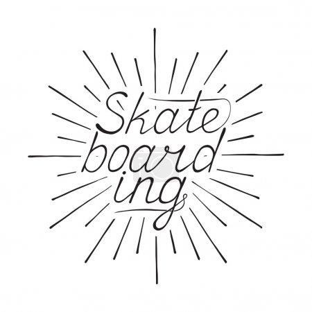 Vintage Hand drawn print Skateboarding for t-shirt