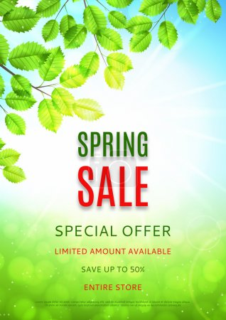 Design of the flyer of spring sale with leaves and sun.