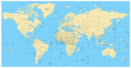 Highly detailed world map: countries, cities, water objects