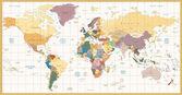 Vintage barevná politická mapa světa