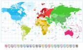 Světová mapa spatřen barvy a 3d mapa ukazatele