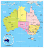 Australia detailed political map with roads and water objects