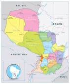 Detailed political and road map of Paraguay with capital Asuncion national borders most important cities rivers and lakes http://wwwvidianicom/large-detailed-political-and-regions-map-of-paraguay/