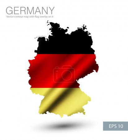 Germany contour map with flag