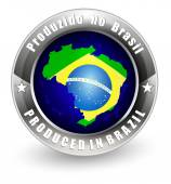 Produced in Brazil label with Brazil map Vector icon