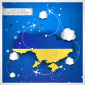Ukraine air travel abstract background with a highly detailed ma