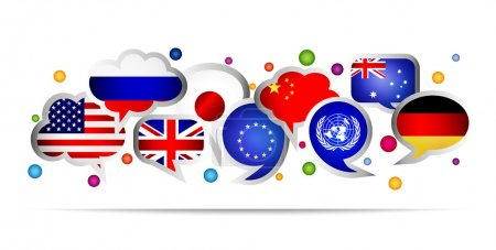 World flags bubble speech shapes. Set 1