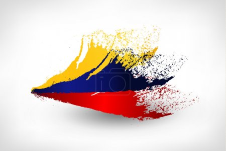 Brush painted flag of Colombia
