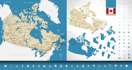 Map of Canada. Graphic set