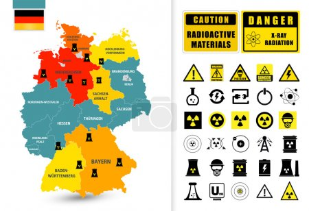 Map of Germany with nuclear power plants