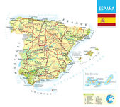 Detailed physical map of Spain