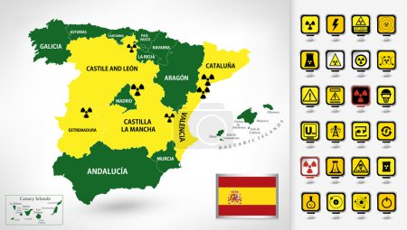 Nuclear Power Plant map of Spain with a 3D pointers