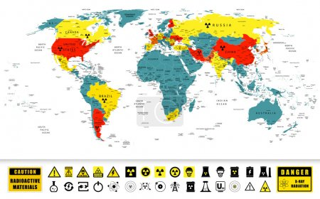 Nuclear power countries on a World map