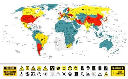 Atommächte auf einer Weltkarte