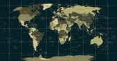 Detailed World Map in camouflage colors with a square gridcountry and city names