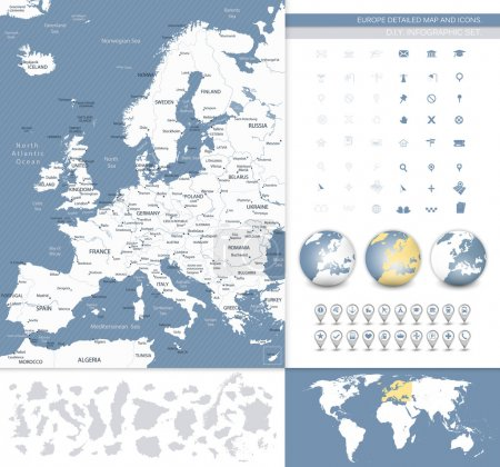 Europe detailed map and icons