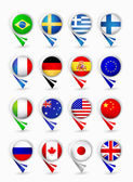 Bubble map pin pointers with flags Most popular flags part 1